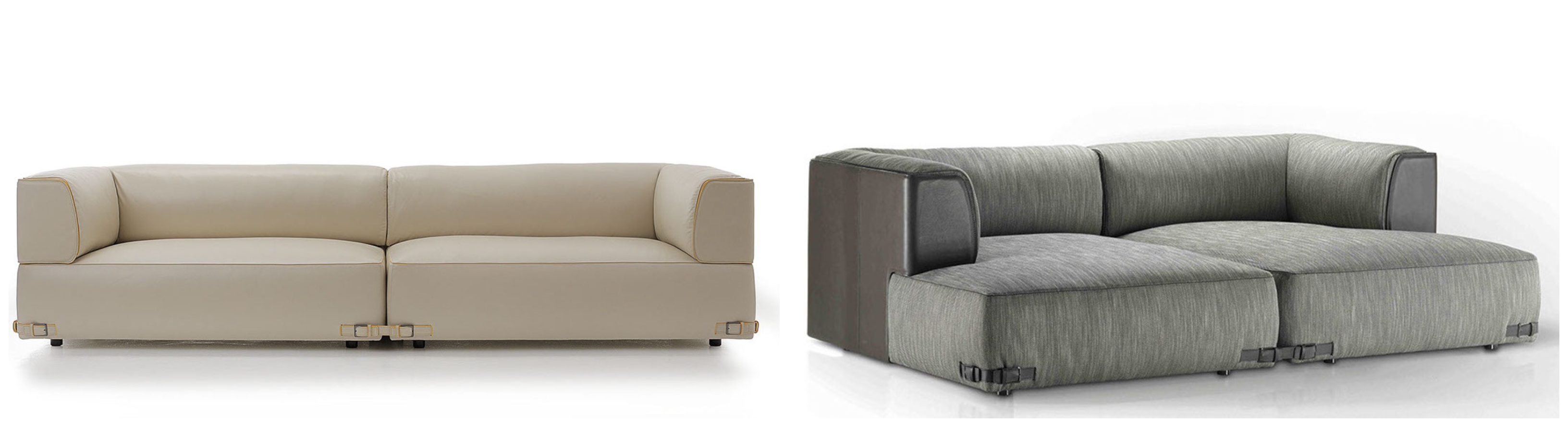 The Soho sofa is characterized by an elegant structure that wraps around the maxi cushions, conveying an unique atmosphere of comfort and refinement. The leather buckle straps are aesthetic details yet functional connectors between the elements, celebrating the FENDI's highest expertise in leather workmanship.