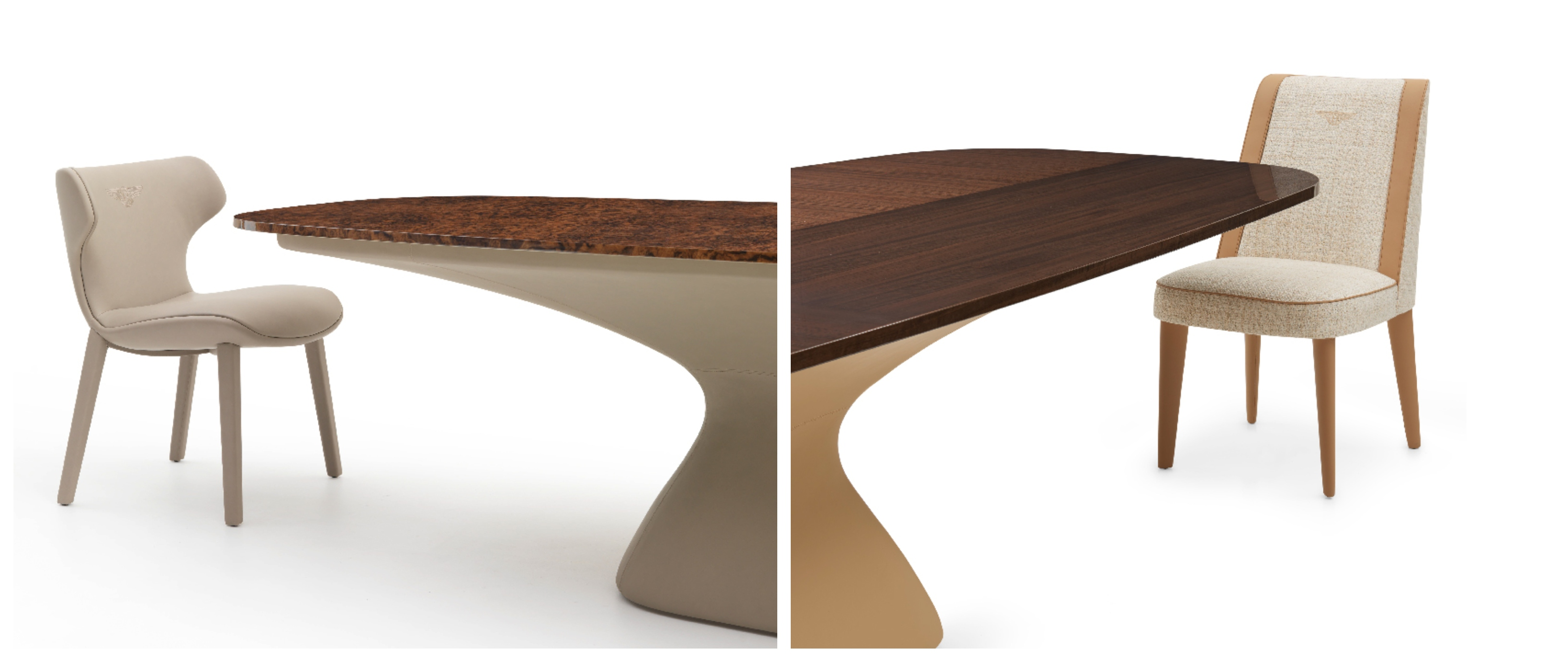 The impressive Alston table is characterised by a juxtaposition of different shapes and volumes. The model's stand-out feature is its substantial base, upholstered in leather with diamond quilt stitching. The wide table top is available in Ebony Macassar or in the briar-root veneers of the collection with polished, brushed finishes. This contrasts with the matt lacquered skirting, colour coordinated with the base.